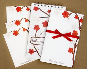 Stationery Set with Notepad, Cards and Journal - Red and White Flower Design