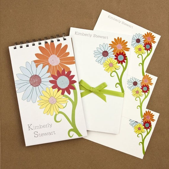 Stationery Set with Notepad, Cards and Journal -  Flower Bunch Design