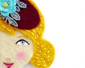 Anna Brooch - Handmade Embroidered Vintage inspired, 1940s fashion style, Felt Brooch
