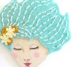 Embroidered felt brooch - The dream, aqua, light blue, woman face