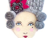 Mary Antoinette - Handmade Embroidered Vintage inspired, Victorian Hairstyle Felt Brooch