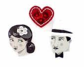 Fabric brooches - trio, Love story brooches, 1930s inspired, roaring twenties