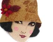 Retro Girl Fabric Brooch, Felt Brooch, Art Brooch, Wearable Art Jewelry, Mother's Day Gift