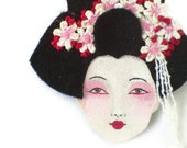 SALE - Japanese Girl Felt Brooch, Fabric Brooch, Art Brooch, Wearable Art Jewelry