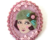 1920s Girl Cameo Fabric Brooch, Felt Brooch, Art Brooch, Wearable Art Jewelry, Mother's Day Gift
