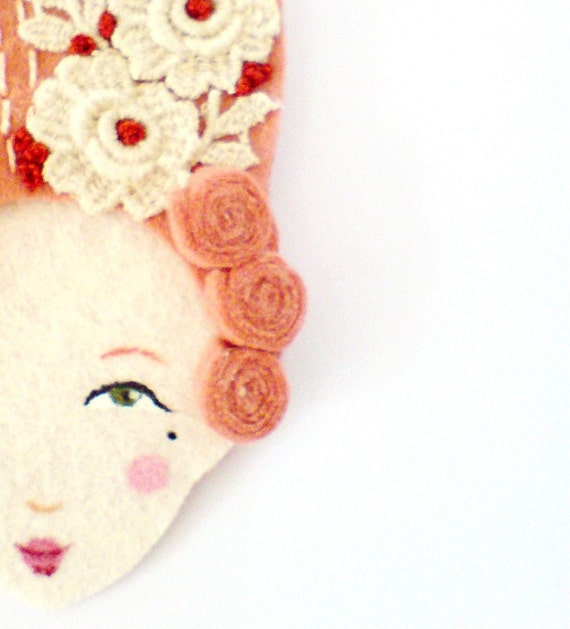 Reserved for Casey (Consider) - Mary Antoinette - Handmade Embroidered Vintage inspired, Victorian Hairstyle Felt Brooch