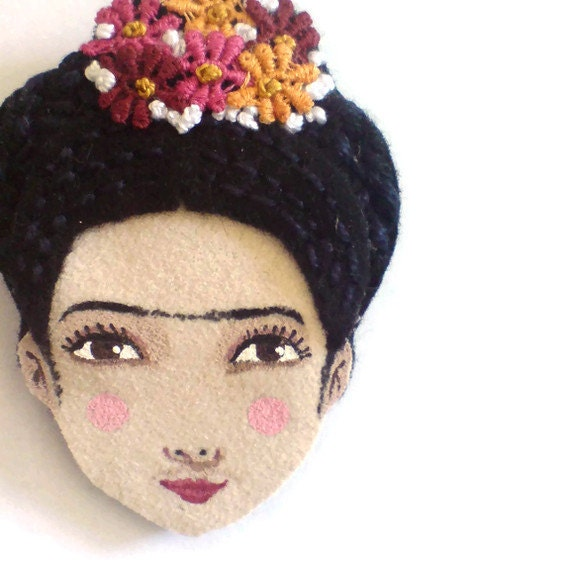 Felt brooch - Frida Kahlo, black, burgundy, magenta, pumpkin, woman face