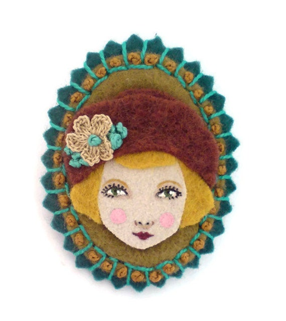 Felt cameo brooch, girl with a cloche hat, Autumn, bronze, teal, auburn, flapper