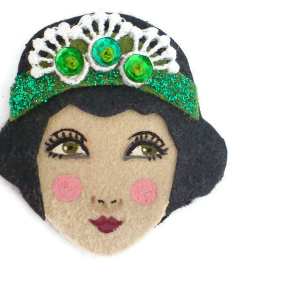 Reserved for Sophie - Jazz Age Girl Fabric Brooch