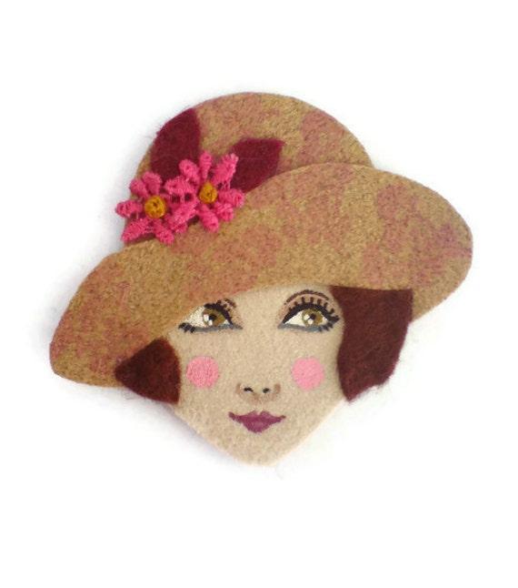 Broadway Girl Fabric Brooch, Felt Brooch, Art Brooch, Wearable Art Jewelry, Mother's Day Gift