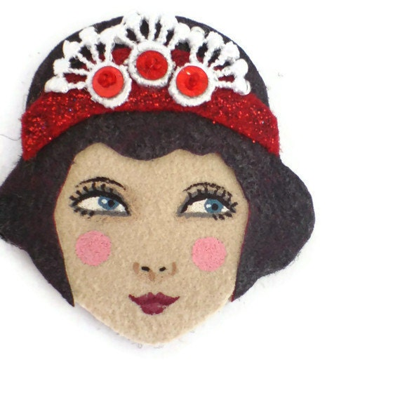 Reserved for Sophie - Twenties Flapper Fabric Brooch