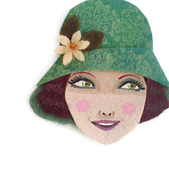 Reserved for Sophie -  Retro Girl Fabric Brooch