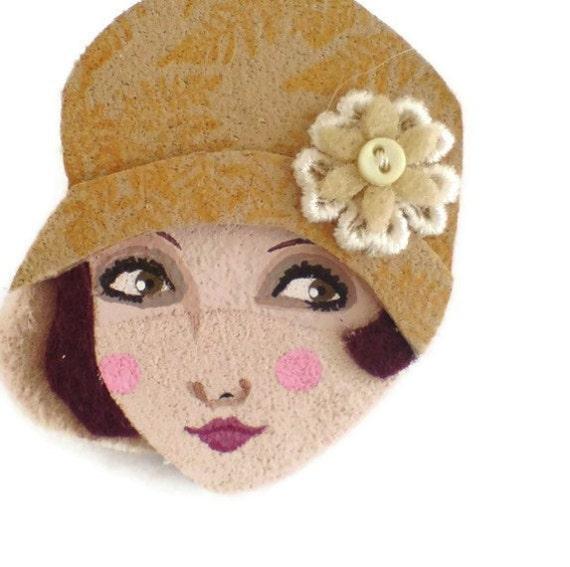 SALE - Twenties Girl Fabric Brooch, Felt Brooch, Art Brooch, Wearable Art Jewelry, Mother's Day Gift