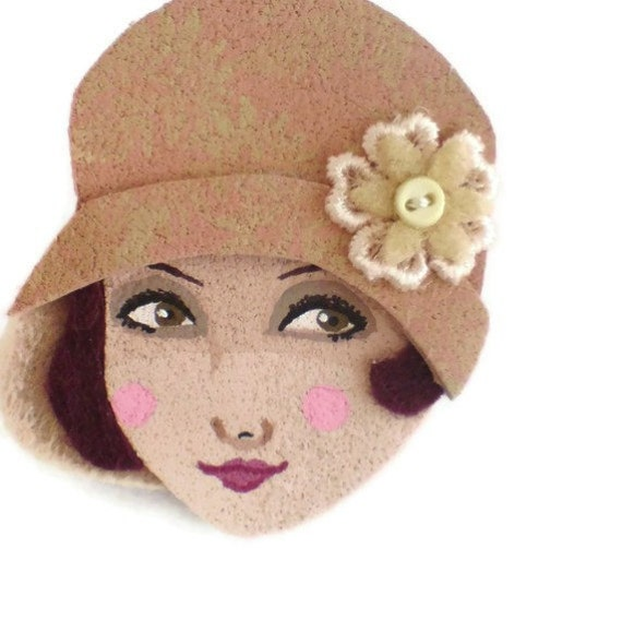 Reserved for Pamela - SALE - Broadway Girl Fabric Brooch, Felt Brooch, Art Brooch, Wearable Art Jewelry, Mother's Day Gift