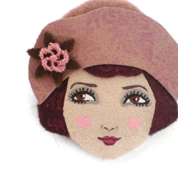20s Brodway Girl Fabric Brooch, Felt Brooch, Art Brooch, Wearable Art Jewelry, Mother's Day Gift