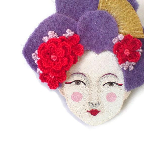 SALE - Japanese Girl Felt Brooch, Felt Brooch, Fabric brooch, Art Brooch, Wearable Art Jewelry