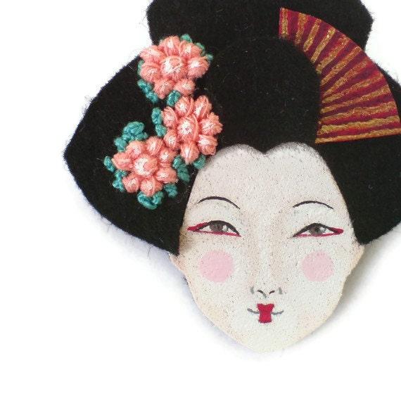 SALE - Geisha Felt Brooch, Fabric Brooch, Art Brooch, Wearable Art Jewelry