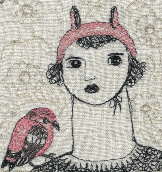 Fiber artportraitembroidery by laventimedreams on etsy