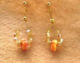 Golden Floral Fantasy Drop Earrings