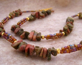 Gold and Unakite Gemstone Necklace