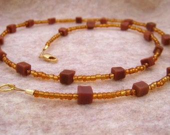 Goldstone Cubes and Amber Seed Beads Necklace