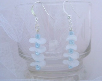 Blue Pearlescent Frosted Drops with antique glass