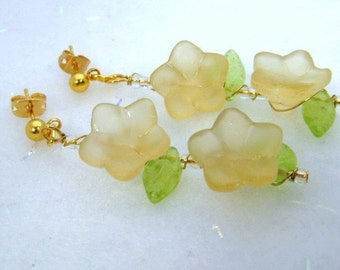 Frosted Glass Flower Beads with Czech Glass Dangle Earrings