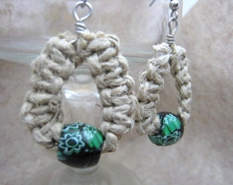 Hemp and Green Floral Porcelain Bead Earrings