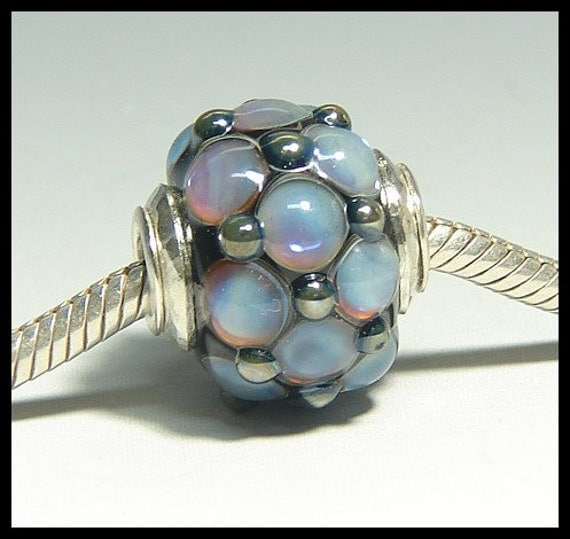 CLEARANCE Bracelet Bead capped\/cored- purple and blue