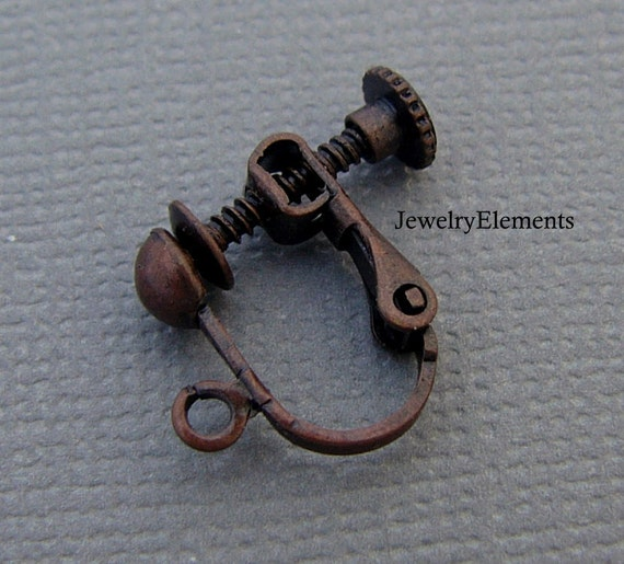 Clip On Earrings Screw Back Antique Copper 10pc (5 pair) (E20B)
