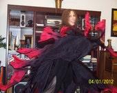"Sahariah's Silk Belly Dance Veils Killer Moths 2 Half Circles ""ORIGINAL"" Crow Wings"