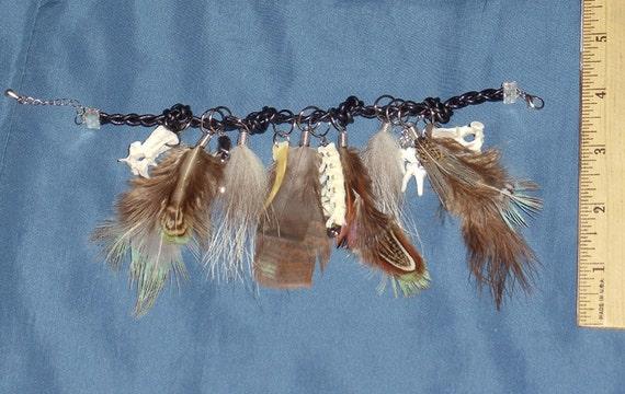 Real Bone And Feather Leather Charm Bracelet- Pheasant Badger Turkey Squirrel Fox Coyote Opossum Hematite