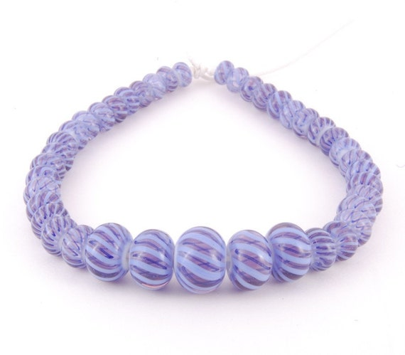 Striped Glass Beads set of 41, Handmade Lampwork Glass Beads, SRA