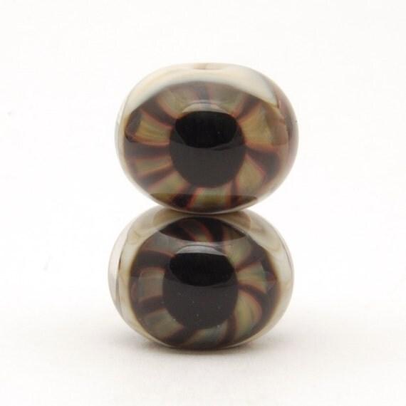 Glass Eyeball Beads (2) Handmade Lampwork Beads Set of Two - SRA