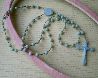 Vintage Light Blue Plastic Rosary