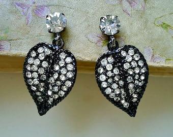 Vintage Rhinestone Encrusted Leaf Earrings
