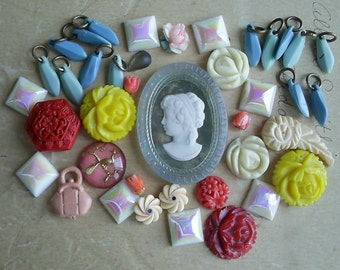 Colorful Batch of Vintage Cabochons Etc..,Glass Cameo