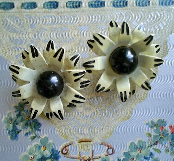 Vintage West Germany Enamel Black and Cream Earrings