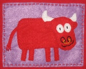 Spanish Bull on Purple on Red Tshirt (size 24 month)