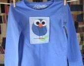 Blue Owl on Light Blue on Long-Sleeve Cornflower Blue (size 3T)