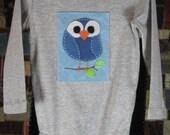 Blue Owl on Light Blue on Grey Long-Sleeve Baby Bodysuit (size 9-12 mo.)