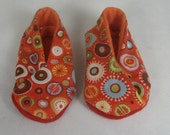 Red and Orange Graphic Baby Kimono Shoes (0-6 months)
