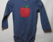 Apple on Blue Long-Sleeve Baby Bodysuit (size 12-18 mo.) - FELTITNYC