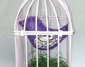 Purple Bird in Light Purple Mini Metal Bird Cage