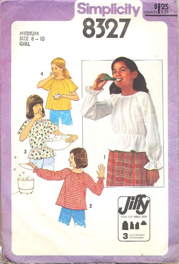 SIMPLICITY 8327 Girls' Pullover Blouse Pattern Size Medium 8 10