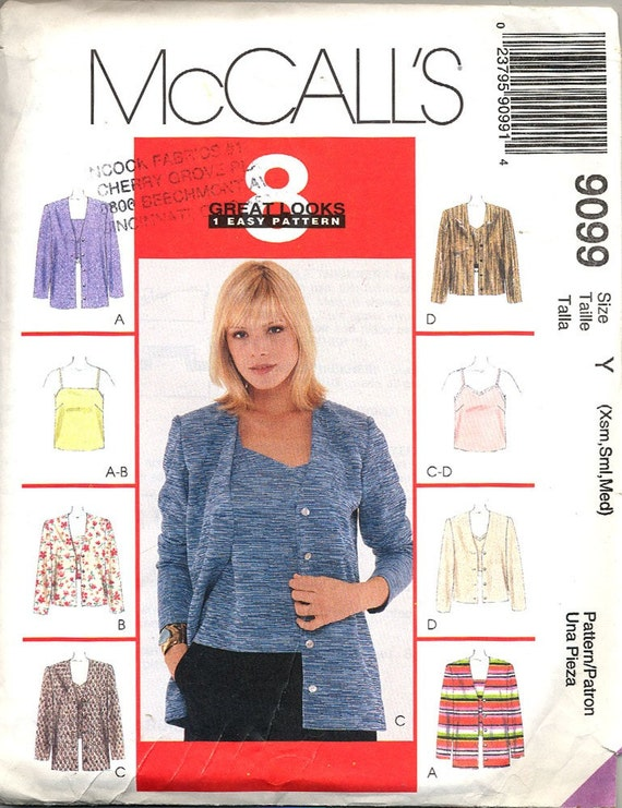 McCALL'S 9099 Camisole and Cardigan Uncut Pattern Size XS Small Medium