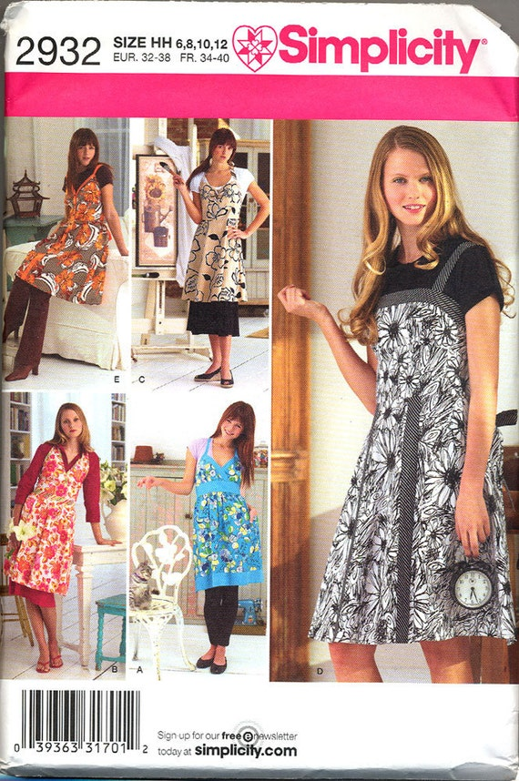 SIMPLICITY 2932 Full Aprons UNCUT Pattern Sizes 6 8 10 12