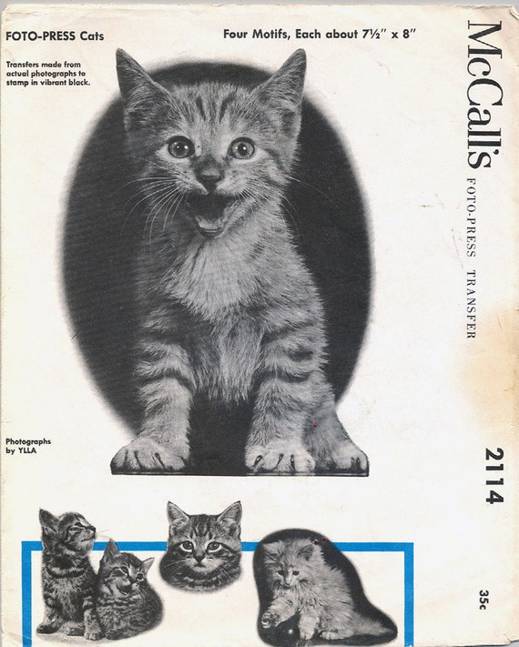 Vintage 1956 McCALLS Foto Press Cats Transfer Pattern