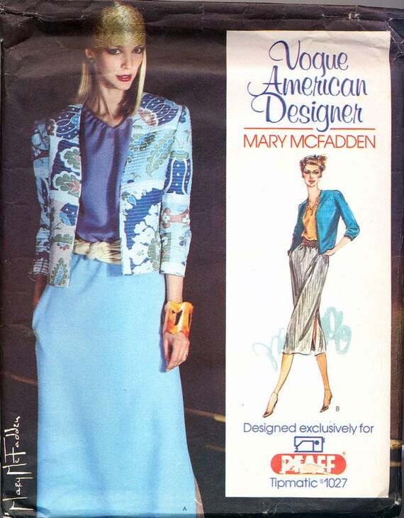 VOGUE Americn Designer Mary McFadden Jacket Blouse Skirt UNCUT Pattern Sz 6 to 14