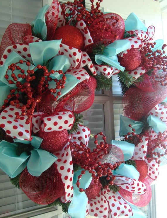 Red and Robin's Egg Christmas Wreath